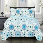Arielle Oversized 3 Piece Quilted Coverlet Set Wrinkle Free Floral Quilts  image