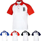 KH1001 Boston Red Sox Raglan Polo T-Shirts Baseball Team Collar Tee Uniform 0096 on Ebay