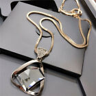 Geometry Crystal Rhinestone Pendant Necklace Sweater Long Chain Necklace Jewe Is