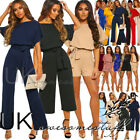 UK Womens Jumpsuit Short Sleeve Belt Straight Leg Romper Ladies Playsuit 6 - 18