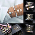 Women Leaf Love Infinity Rope Bead Bracelet Set Multi-layer Bangle Jewelry Party