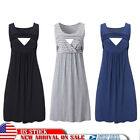 Pregnant Womens Maternity Nursing Breastfeeding Maxi Dress Casual Vest Gown Size