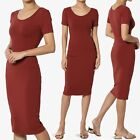 TheMogan Short Sleeve Scoop Neck Stretch Jersey Bodycon Pencil Midi Tank Dress