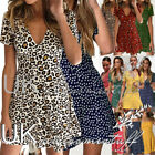 UK Womens Leopard Floral Paisley Ladies Summer Holiday Beach Sun Dress Size 6-16