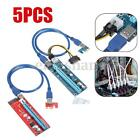 1/5x USB3.0 PCI-E Express 1x to 16x Extender Riser Card Adapter SATA Power Cable