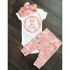 US Newborn Infant Baby Girl Summer Clothes Cotton Romper+Floral Leggings Outfits