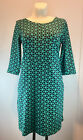 NEU ZILCH Dress Pockets Graphic Emerald Baumwolle