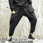 Chic Mens Punk Long Harem Pants Loose Street Youth Leisure Cargo Trousers Black