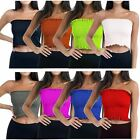 New Womens Strapless Boobtube Bandeau Sheering Gather Shirred Crop Top 8-14