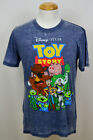 Toy Story Cast T-shirt Disney Pixar Worn Graphic Tee Bleached Blue NWT