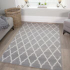 SALE Cheap Discount Neutral Trellis Silver Grey Living Room X Large Runner Rug