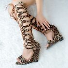 Women Wedge Heel Peep Toe Summer Gladiator Leopard Print Knee High Boots Sandals