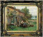 Knight Coffee in the garden Wood Framed Canvas Print Repro 8x10