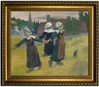 Gauguin Breton Girls Dancing, Pont-Aven 1888 Framed Canvas Print Repro 20x24