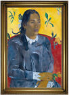 Gauguin Woman with a Flower 1891 Wood Framed Canvas Print Repro 19x28