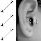 TINY 16G SURGICAL STEEL BARBELL EAR CARTILAGE HELIX DAITH TRAGUS NOSE STUD image