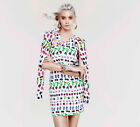 NWT Versace H&M HM Cruise Collection White Fruits Silk Dress 36 38 6 8 10 12