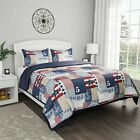 Patchwork Nautical Americana Quilted Blanket Colorful Bedspread Twin Queen King image