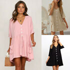 Womens Summer Party Casual Beach Mini Dress Button Down Party Holiday Sundress