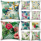 Home Decoration Cotton Linen Floral Waist Throw Pillow Case Cushion Cover Square image
