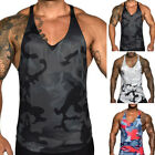 Men Tank Tops Slim Fit Printing Camouflage Sports Sleeveless Vest Pullover M-XL