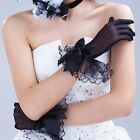 Women Lace Bow Wedding Bridal Short Full Gloves Evening Party Pageant Gloves CF