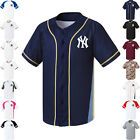 NY New York Yankees Button Jersey Baseball Team Raglan Open T-Shirts 0110 fuerza