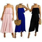 New Women's Strappy Chiffon Frill Crinkle Pleated Jumpsuit Culottes Dress 8-14