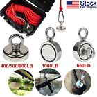 Fishing Magnet Kit Up To 900 LB Pull Force Super Strong Neodymium+Rope+ABS Case