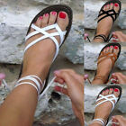 Summer Womens Flat Strappy Sandals Ladies Gladiator Party Lace Up Shoes Size 5-8