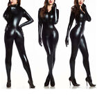 Black Womens Vinyl PVC Wetlook Leather CATSUIT CLUBWEAR Bodysuit Motor Jumpsuit