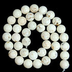 """Natural White Turquoise Gemstone Round Spacer Loose Beads 15.5"""" 10mm 12mm 14mm"""