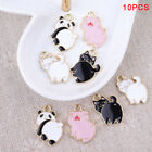 10Pcs/Lot Enamel Alloy Pig Cat Panda Charms Pendants DIY Jewelry Findings Crafts