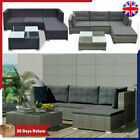 14 Piece Rattan Garden Corner Sofa Table Chair Furniture Set Grey Brown Black
