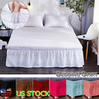 Wrap Around Easy Fit Bed Skirt Bedding Valance Elastic Band Bed Apron Ruffled US image