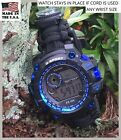 "USA Black Survival Paracord Bracelet 55mm Digital Watch 7.5"" 8"" 8.5"" Any Wrist"