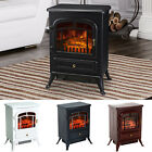 HOMCOM 750/1500W Portable Electric Fireplace Stove Heater Adjustable LED Flames