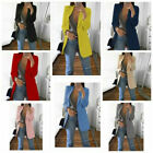 Women Slim Blazer Jacket Top Outwear Long Sleeve Career Formal Long Coat