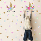 Uk Creative Unicorn Stars Wall Stickers Girls Bedroom Flowers Decals Decor New!