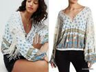 NWT FREE PEOPLE Anthropologie MACRA MAZE ME Linen Blend Fringed Sleeve Blouse XS