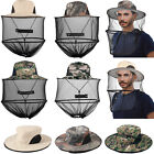 1/2x Camo Mosquito Head Face Net Hat Hidden Mesh Protect Bug Bee Outdoor Sun Cap