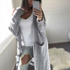 Womens Long Sleeve Knitted Cardigan Sweater Casual Solid Open Front Outwear Coat
