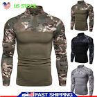 Men Camo Military T-shirt Tactical Muscle Long Sleeve Army Combat Fitness Blouse image