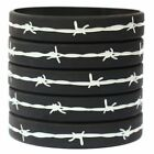 5 Barbed Wire Thin Silver Gray Line Wristband Corrections Officers Pick Size