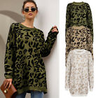 Women Casual Leopard Jumper Loose Long Warm Sweater Elastic Knitted Tops Vintage