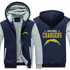 San Diego Chargers Sweater Zipper Thicken Hoodie Unisex Jacket Winter Coat $36.98 USD on eBay