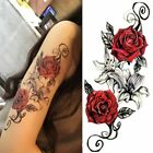 Three Henna Rose Temporary Tattoos New Stickers Body Arts Waterproof Dark Black $4.84 USD on eBay