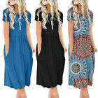 Daliy Women's Short Sleeve Pockets Dress Empire Waist Loose Swing Flare Dress