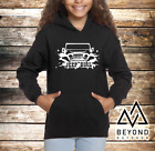 Jeep Parked by Mountains Girls Youth Kids Hoodie