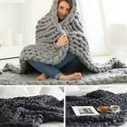 Winter Warm Chunky Knit Yarn Blanket Thick Merino Hand Woven Big Knitted Throw image